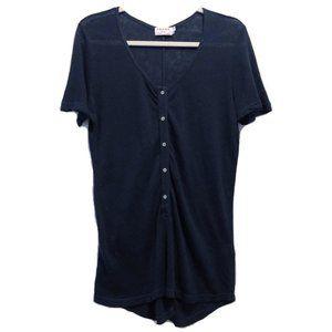 Frame 100% Linen Navy Popover Henley Tee Shirt M